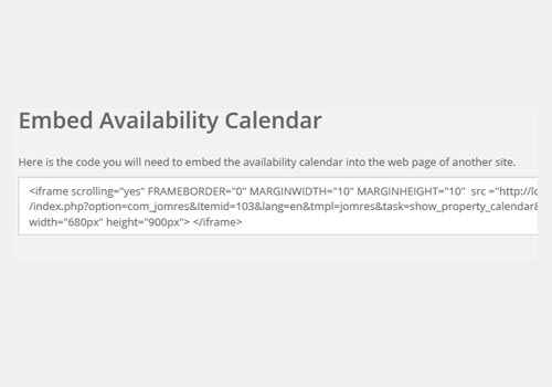 Embed Availability Calendar