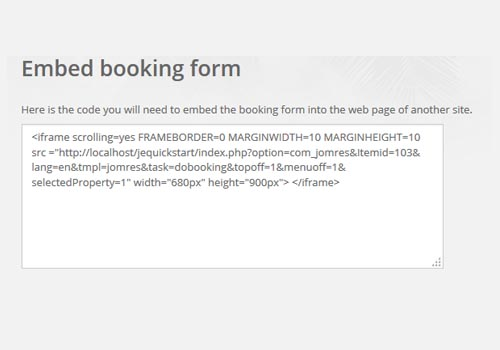Embed Booking Form