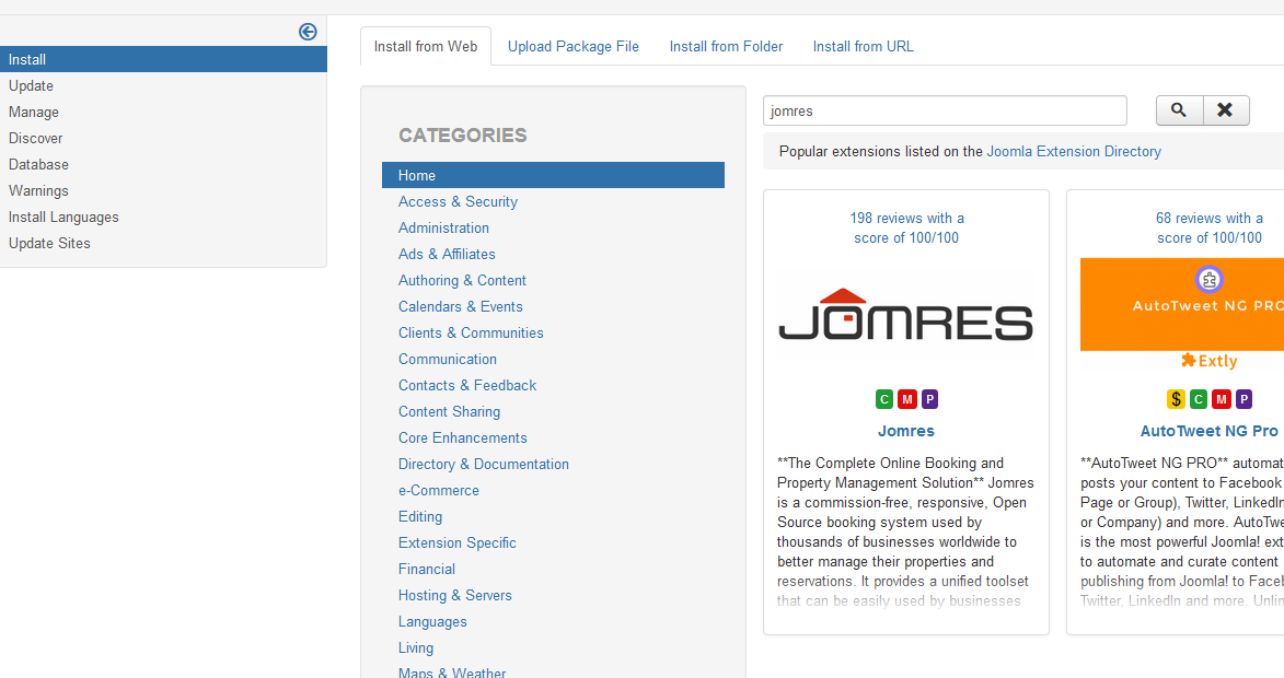 joomla install from web