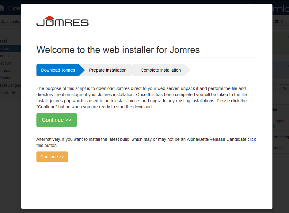 quickstart joomla update 2
