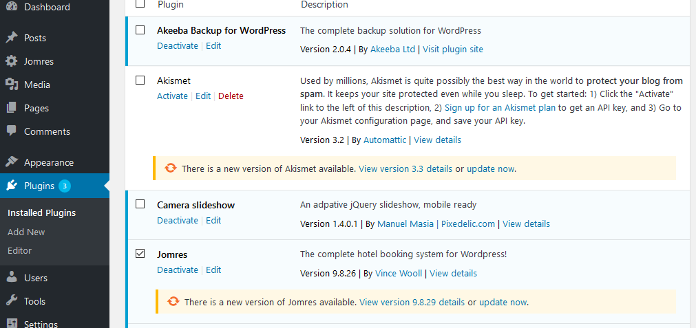 quickstart wordpress update
