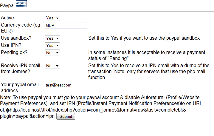 Core Gateway Paypal